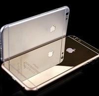 Золотистое зеркальное стекло на заднюю панель для iPhone 6/6s