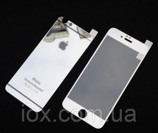 Защитное двойное серебряное стекло для Iphone 6 Plus