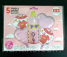 Набор воздушных фольгированных шаров для  встречи/выписки из роддома - девочки -доченьки