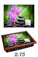 """Поднос на подушке """"Розовая орхидея, камни, свеча"""""""