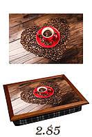 "Поднос на подушке ""Красная чашка, сердце из зерен кофе"", фото 1"