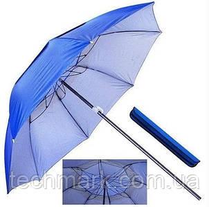 Зонт пляжный садовый с клапаном антиветер и наклоном 2.0 м, (с треногой, колышками и веревкой) UF-защита