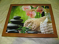 """Поднос на подушке """"СПА - орхидея, полотенце, вино"""", фото 1"""