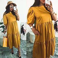 Молодежное летнее платье свободного кроя миди коттон ,белое , чёрное,жёлтое.Новое поступление весна лето