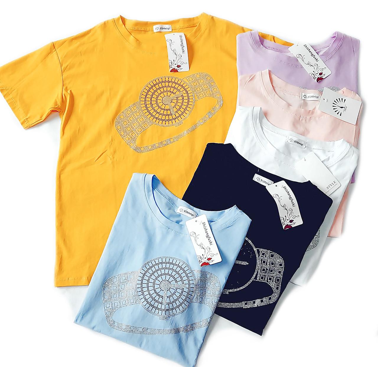 Универсальная летняя футболка женская 46-50 (в расцветках)