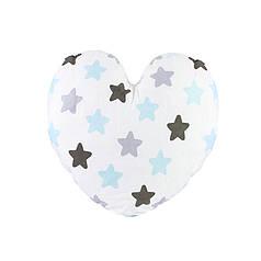 Дитяча бавовняна подушка Lesko AYBB-002 Серце в зірочку 40*40см в ліжечко малюкам