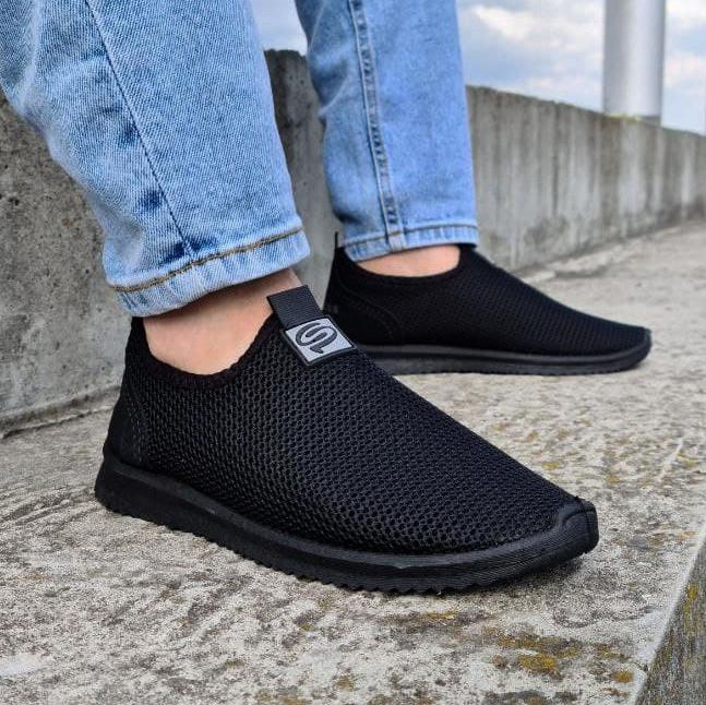 Кросівки літні чоловічі чорного кольору мокасини (Пр-3902ч)