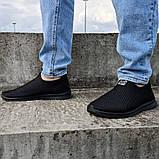 Кроссовки летние мужские черного цвета мокасины (Пр-3902ч), фото 2