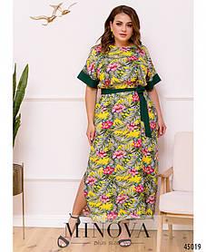 Штапельное летнее платье в пол большой размер 46-48 50-52 54-56 58-60 62-64 66-68