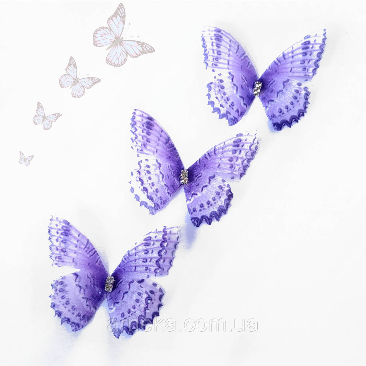 Бабочка шифон, двойные крылья, стразы