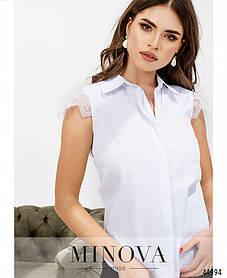 Симпатичная блузка белого цвета из хлопка с рукавами из кружева размер 42 44 46