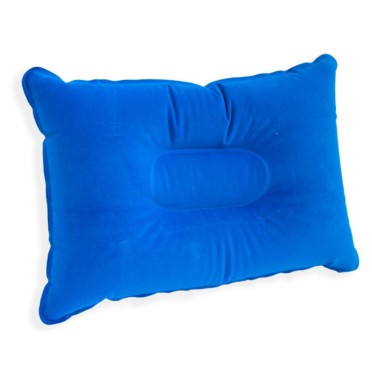 Синяя подушка для путешествий надувная 34х24 см, подушка надувная туристическая, дорожная, для кемпинга (ST)