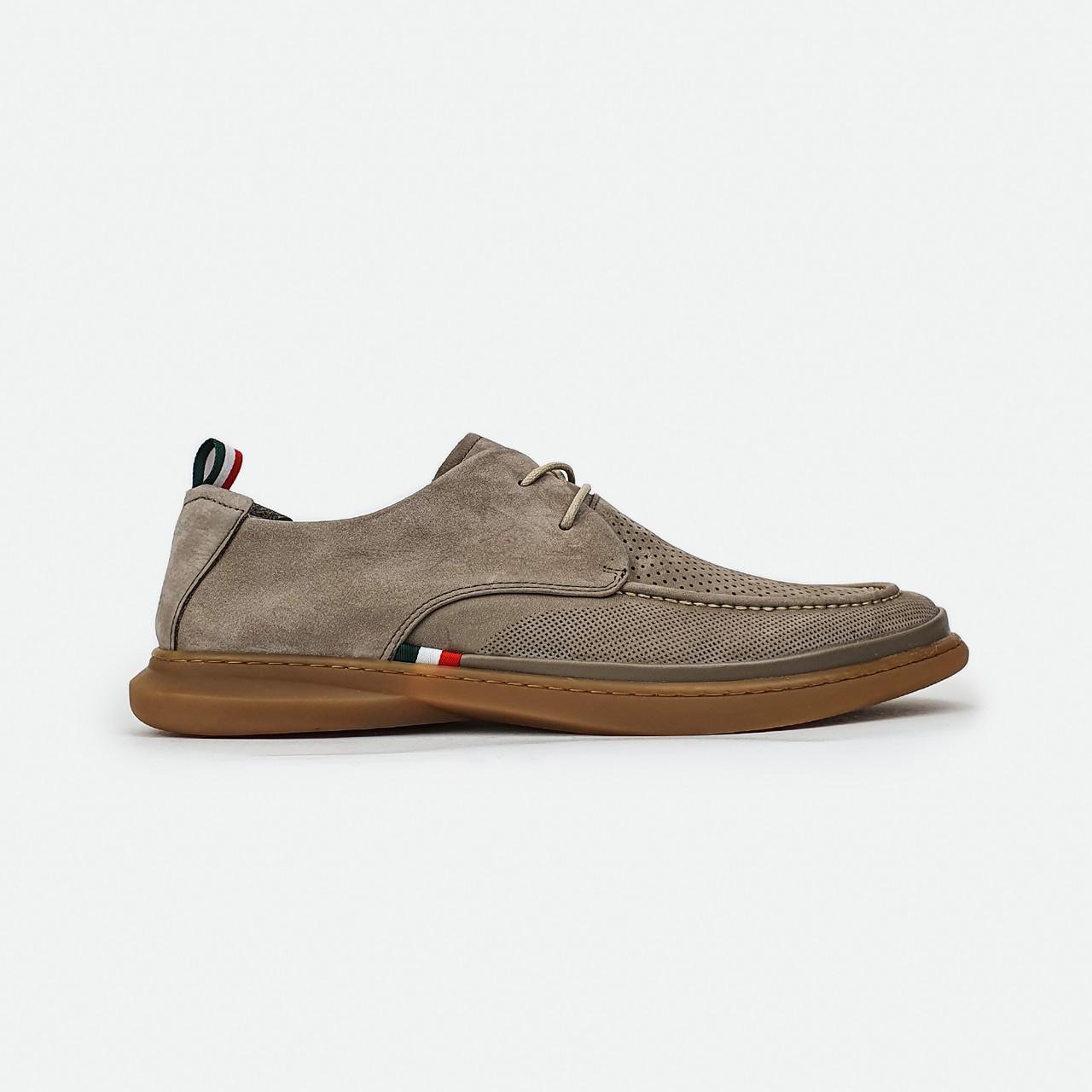 Стильные мужские туфли комфорт с перфорацией бежевые на шнурках Cosottinni 2053AKW-0507