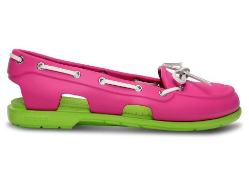 Крокси сабо Жіночі Beach Boat Line Shoe Woman Fuchsia/Volt Green W5 34-35 21,1 см Рожевий з Зеленим