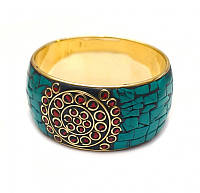 Браслет кольцо инкрустация натуральными камнями 3,5см.