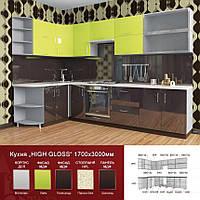 Кухня угловая HIGH GLOSS 1,7 х 3,6 м