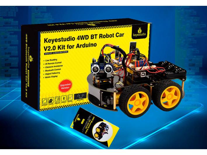 Робот автомобиль набор многофункциональный 4WD BT Robot Car V2.0 (2020) для Arduino