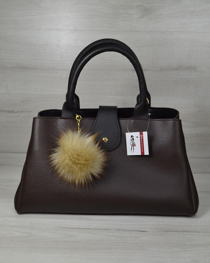 Модна жіноча сумка, повсякденна стильна сумка Альба коричнева з чорним