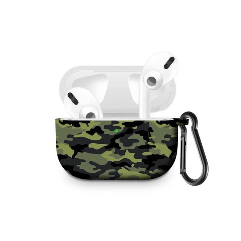 Силіконовий чохол з карабіном для навушників Apple Airpods Pro Армійський зелений камуфляж