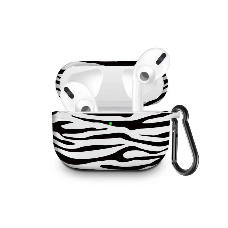 Силіконовий чохол з карабіном для навушників Apple Airpods Pro Зебра