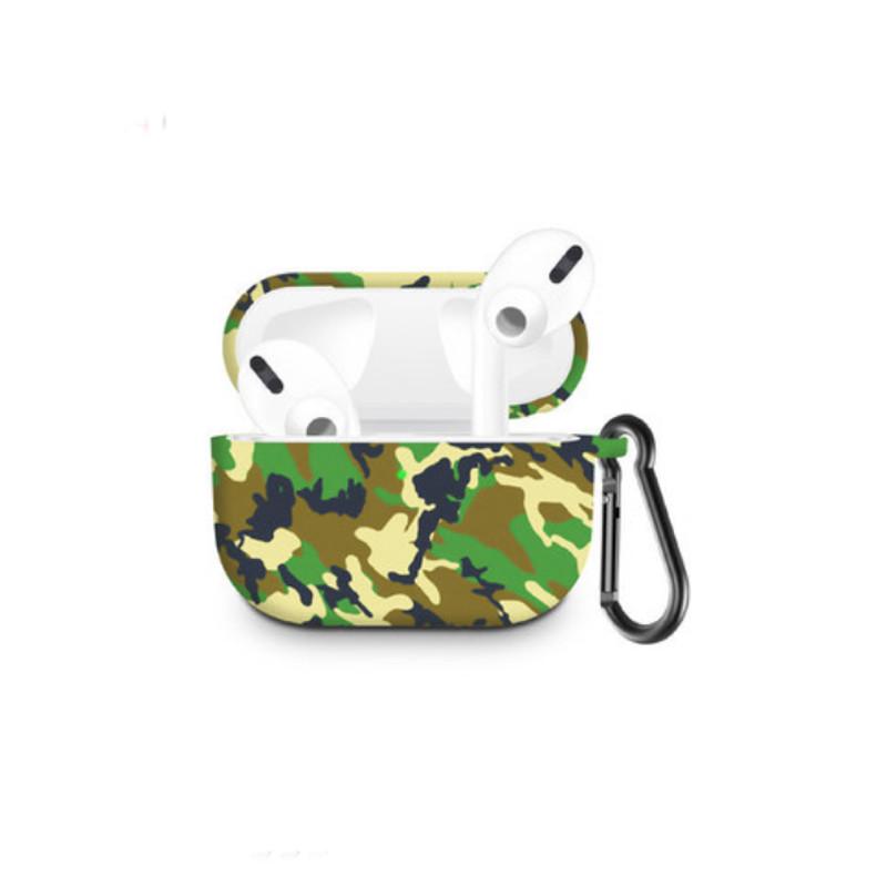 Силіконовий чохол з карабіном для навушників Apple Airpods Pro Камуфляж джунглів