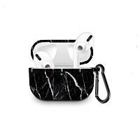 Силіконовий чохол з карабіном для навушників Apple Airpods Pro Мармуровий чорний