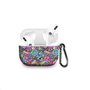Силіконовий чохол з карабіном для навушників Apple Airpods Pro Павлиния ширма