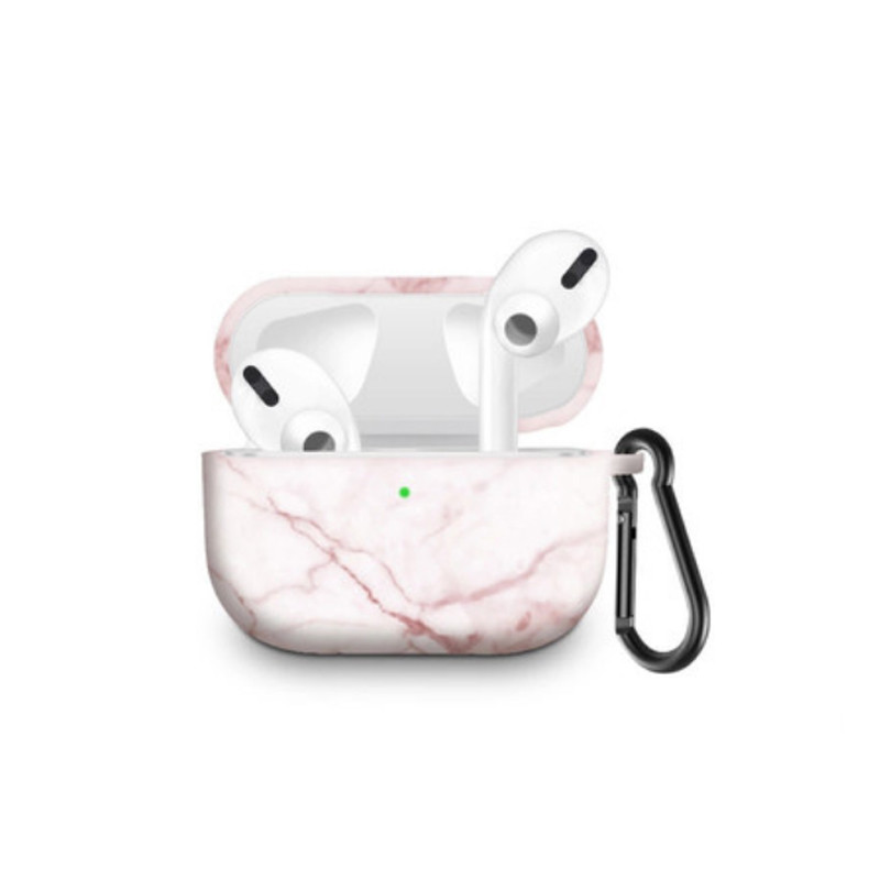 Силіконовий чохол з карабіном для навушників Apple Airpods Pro Рожевий мармур