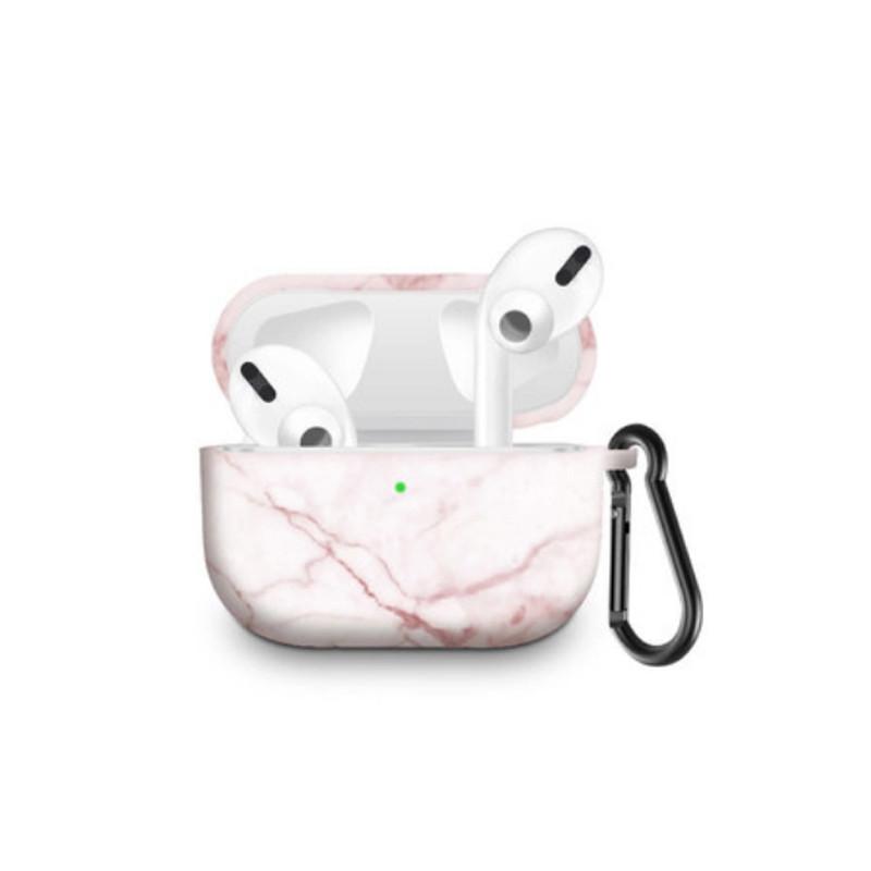 Силиконовый чехол с карабином для наушников Apple Airpods Pro Розовый мрамор