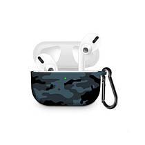 Силиконовый чехол с карабином для наушников Apple Airpods Pro Серый камуфляж