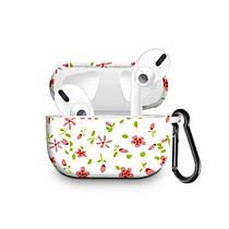 Силиконовый чехол с карабином для наушников Apple Airpods Pro Цветок стрекозы