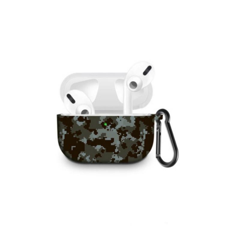 Силиконовый чехол с карабином для наушников Apple Airpods Pro Цифровой камуфляж