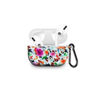 Силиконовый чехол с карабином для наушников Apple Airpods Pro Чернильный Цветок