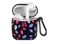 Силіконовий чохол з карабіном для навушників Apple airpods Губи