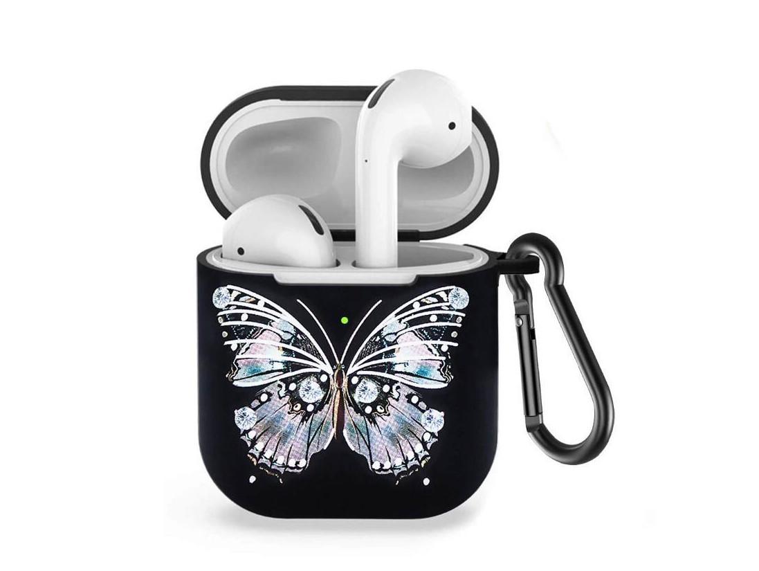 Силіконовий чохол з карабіном для навушників Apple airpods Чорна метелик