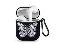 Силиконовый чехол с карабином для наушников Apple airpods Черная бабочка