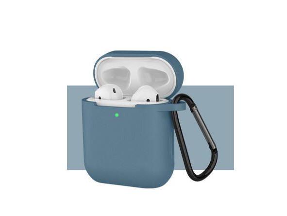 Чохол з карабіном для навушників Apple airpods, силіконовий Сіро-синій