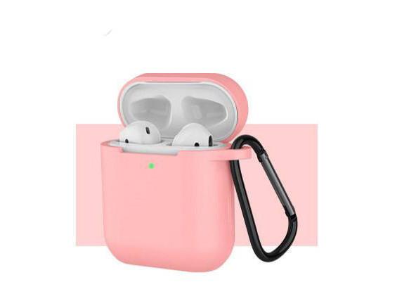 Чехол с карабином для наушников Apple airpods, силиконовый Темно-розовый