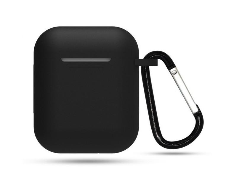 Чехол с карабином для наушников Apple airpods, силиконовый Черный