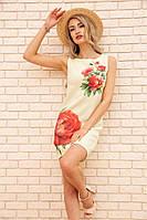 Короткое льняное платье с цветами Пионы цвет Лимонный 172R018-1