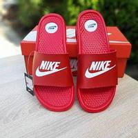 Мужские летние шлепки в стиле Nike красные массажные