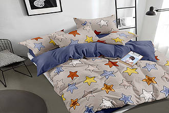 """Полуторный комплект постельного белья """"Игривые звезды"""" 147х217 см из сатина"""