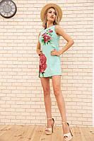 Короткое льняное платье с цветами Пионы цвет Мятный 172R018-1
