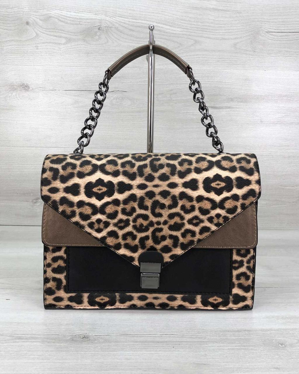Небольшая женская сумка классическая, стильная женская сумка Amber леопард