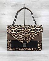 Небольшая женская сумка классическая, стильная женская сумка Amber леопард, фото 1