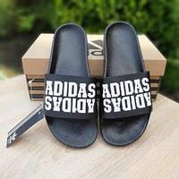 Мужские летние шлепки в стиле Adidas черные двойная надпись