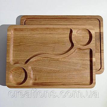 Менажница деревянная прямоугольная доска для подачи блюд 35*25 на 4 секции двусторонняя из дуба