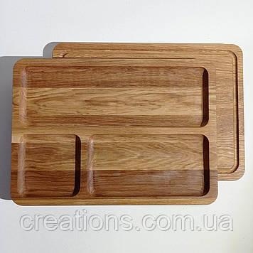 Менажница деревянная прямоугольная доска для подачи блюд 35*25 на 3 секции двусторонняя из дуба