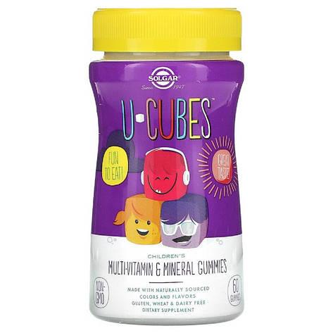 Мультиминеральный и Мультивитаминный Комплекс для Детей, U-Cubes, Solgar, 60 желейных конфет, фото 2