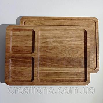 Менажница деревянная прямоугольная доска из дерева для подачи блюд 35*25 на 3 секции двусторонняя из дуба